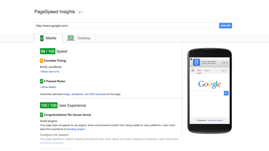 google's pagespeed tool