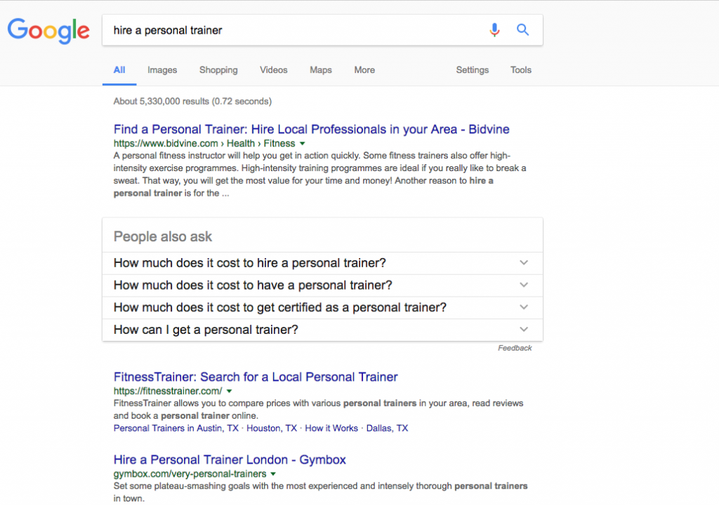 sEARCH RESULTS FOR PERSONAL TRAINERS